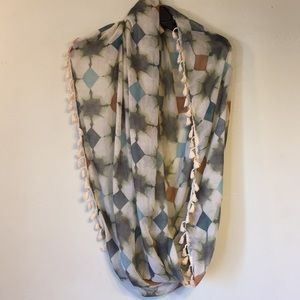 Fringe infinity scarf, blue, cream, brown,& green